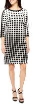 Studio 1 3/4 Sleeve Geometric Shift Dress