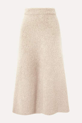 Gabriela Hearst Pablo Cashmere And Silk-blend Bouclé Midi Skirt - Ecru