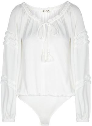 Free People All Tucks white matte satin bodysuit