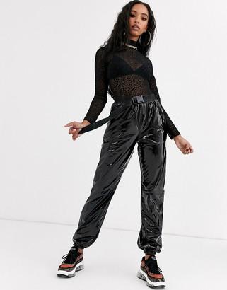 Sixth June cuffed cargo pants with buckle belt in vinyl