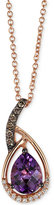 LeVian Le Vian Chocolatier® Amethyst (1 ct. t.w.) and Diamond (1/10 ct. t.w.) Pendant Necklace in 14k Rose Gold