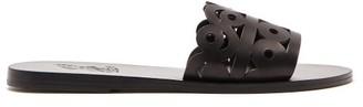 Ancient Greek Sandals Maistros Laser-cut Leather Slides - Black