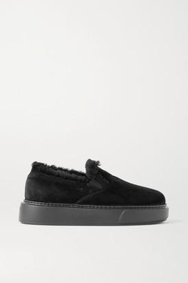 Prada Shearling-trimmed Suede Sneakers - Black