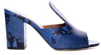 Paris Texas Blue Snake Print Mule