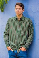 Men's Green Striped Long Sleeve Handwoven Cotton Shirt, 'Grove of Coban'