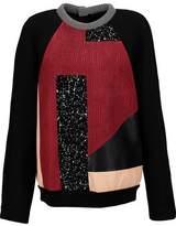 Proenza Schouler Paneled Printed Crepe Leather And Neoprene Sweatshirt