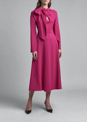 Valentino Bowed Neck Long-Sleeve Crepe Dress