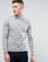 Abercrombie & Fitch Slim Fit Long Sleeve Jersey Polo In Grey