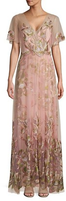 Marchesa Flutter-Sleeve Embroidered Tulle Gown