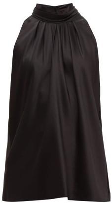 Diane von Furstenberg High-neck Satin Blouse - Black