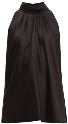 Diane von Furstenberg High-neck Satin Blouse - Womens - Black
