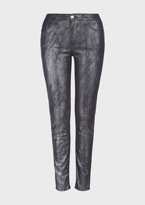 Emporio Armani J20 Skinny, Worn-Look Jeans In Gunmetal, Comfort Denim