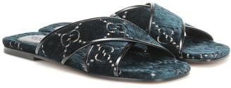 Gucci GG leather-trimmed velvet slides