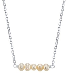 Unwritten Fine Silver Plated Multiple Pearl Bead Necklace