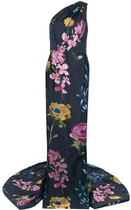 Marchesa Embroidered Floral One-Shoulder Gown