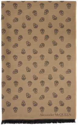 Alexander McQueen Tan Wool and Silk All Over Skull Scarf
