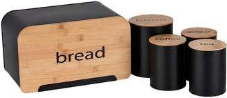Ideal Home 5 Piece Bamboo Storage Set - Bread Bin, Tea/Coffee/Sugar Canisters & Biscuit Tin