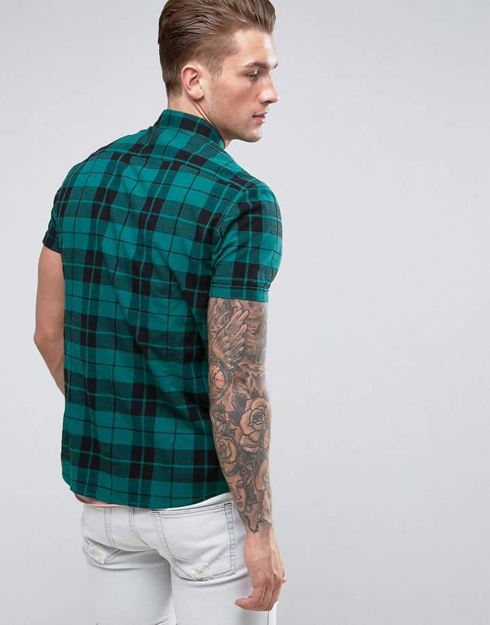 Asos Stretch Slim Poplin Check Shirt In Green