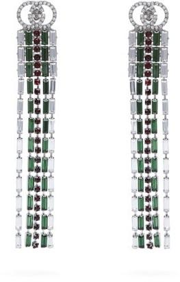 Gucci Tennis Crystal-embellished Brass Drop Earrings - Green