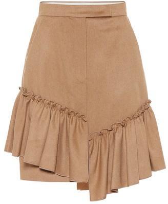 Max Mara Pulcino ruffle-trimmed camel hair skirt