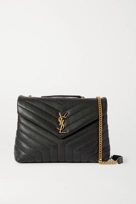 Saint Laurent Loulou Medium Quilted Textured-leather Shoulder Bag - Black