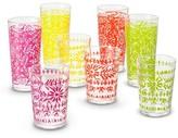 Mudhut Marika Plastic Tumblers Set of 8 Red/Pink