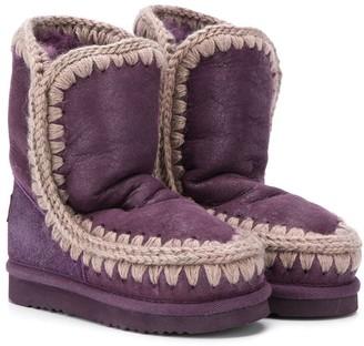 Mou Kids knit trim eskimo boots