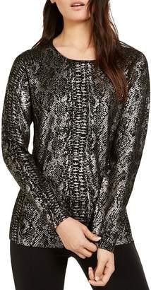 INC International Concepts Regular-Fit Metallic Python-Print Sweater