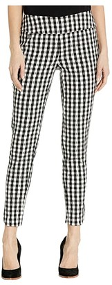 Lisette L Montreal Gingham Jacquard Pull-On Ankle Pants with Pockets (Black/White) Women's Casual Pants