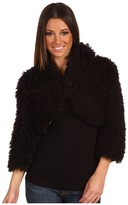 Betsey Johnson Fluffy Fur Cropped Jacket (Black) - Apparel