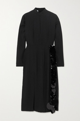 Prada Paillette And Bead-embellished Crepe Midi Dress - Black