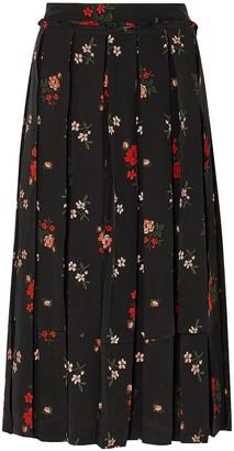Simone Rocha Pleated Floral-print Silk-crepe Midi Skirt