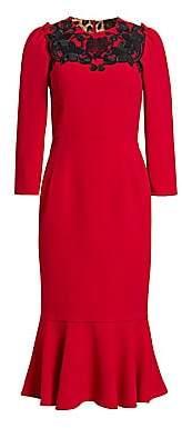 Dolce & Gabbana Dolce& Gabbana Dolce& Gabbana Women's Lace Detail Flutter Hem Dress