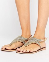 Boohoo Embellished Beaded Flat Sandal