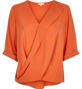 River Island Womens Orange frill wrap blouse