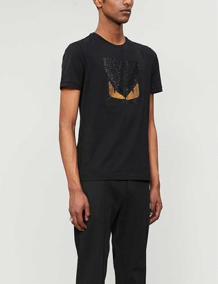 Fendi Monster crystal-embellished cotton-jersey T-shirt