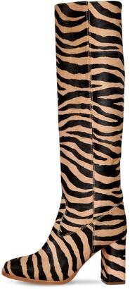 Maryam Nassir Zadeh 85mm Roma Tall Zebra Print Ponyskin Boot