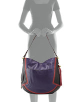 Oryany Angelique Colorblock Leather Hobo, Purple/Multi