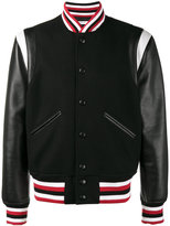 Givenchy striped college jacket - men - Calf Leather/Polyester/Cupro/Wool - 48
