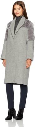Halston Women's Long Sleeve Wool/Faux Fur Combo Coat