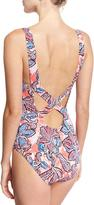 Tommy Bahama Java Blossom Cross-Back One-Piece Swimsuit, Pink