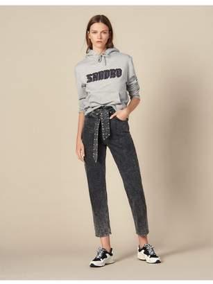 Sandro Acid Wash Jeans With Studded Belt