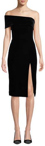 Jay Godfrey Stretch Velvet One-Sleeve Dress