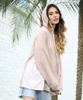 Z Avenue Women's Sweatshirts and Hoodies Tan - Tan Stripe-Inset Kangaroo-Pocket Hoodie - Women