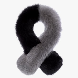 CHARLOTTE SIMONE Polly Pop Black & Grey Fur Stole
