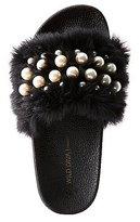 Charlotte Russe Faux Pearl & Faux Fur Slide Sandals