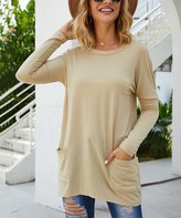 Coeur De Vague Coeur de Vague Women's Pullover Sweaters Khaki - Khaki Scoop Neck Tunic - Women