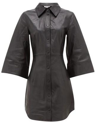 Ganni Flared-sleeve Leather Mini Dress - Womens - Black