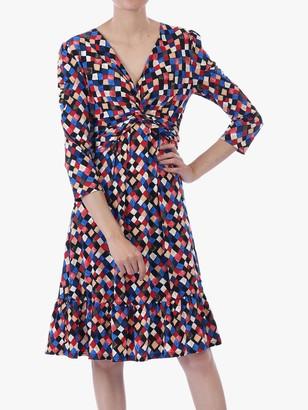 Jolie Moi Retro Geometric Flared Dress, Multi