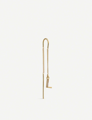 Rachel Jackson Art Deco Initial 'L' 22ct yellow gold-plated sterling silver threader earring